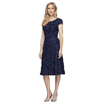 Tea length A-line rosette dress with cap sleeves Knee length women's dress V back