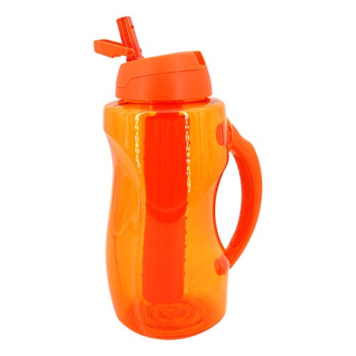 COOL GEAR Dual Wave Large Water Bottle (63 oz Orange) EZ-Freeze Stick, BPA Free, Flip Top and Handle
