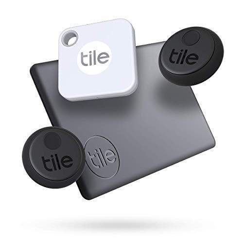 Tile Essentials (2020), buscador de objetos Bluetooth, pack de 4 (2 Stickers, 1 Mate, 1 Slim). Compatible con Alexa y Google Smart Home, iOS y Android. Busca llaves, carteras, mandos a distancia y más