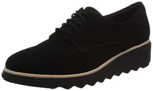 Clarks Sharon Noel, Zapatos de Cordones Derby Mujer, Negro (Black Nubuck), 36 EU
