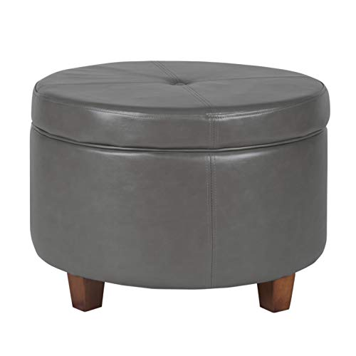 HomePop Round Leatherette Storage Ottoman with Lid, Charcoal Grey