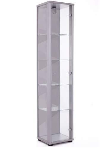 K-Möbel Glasvitrine in Silber (176x37x33 cm) mit 4 höhenverstellbaren Glasböden aus ESG; beleuchet; perfekt für Sammler;