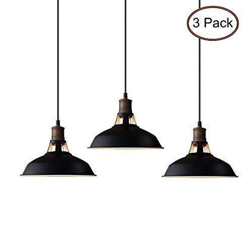 CLAXY Ecopower Industrial Pendant Lighting Glass Oil Rubbered Bronze Hanging Light Fixtures-3 Pack