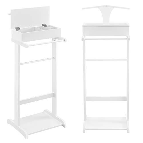 [en.casa] Kleiderständer Weiß Herrendiener Hosenhalter mit Aufbewahrungsfach 43,5 x 34,5 x 110 cm MDF/Kiefernholz