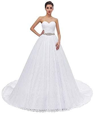1.Made in Lace and Satin,Sewn with Beaded and Detachable Sash. 2.Sweetheart Neck and Lace up Back 3.Size :US2-US26W,Custom Size Available, Please contact with me if you need custom made your wedding dress 4.Color:White and Ivory color in stock , Pict...