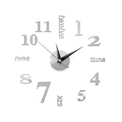 Haihuic Reloj de Pared DIY sin Marco, Moderno Reloj de Pared Espejo 3D Sin tictac Pegatinas de Pared Mute para Sala de Estar Dormitorio Cocina Decoraciones para el hogar Plata