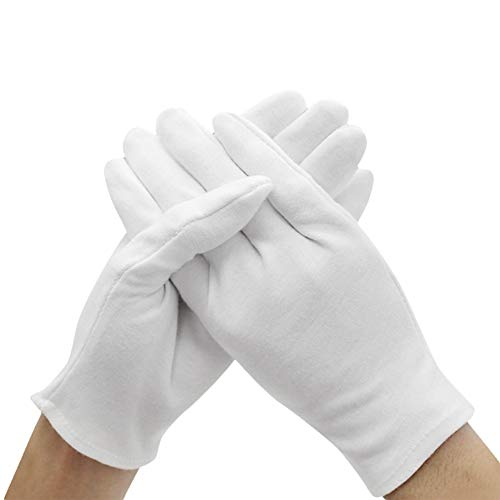 Kentop 12 paia di guanti in cotone bianco Care guanti per proteggere le mani da pelle secca,...
