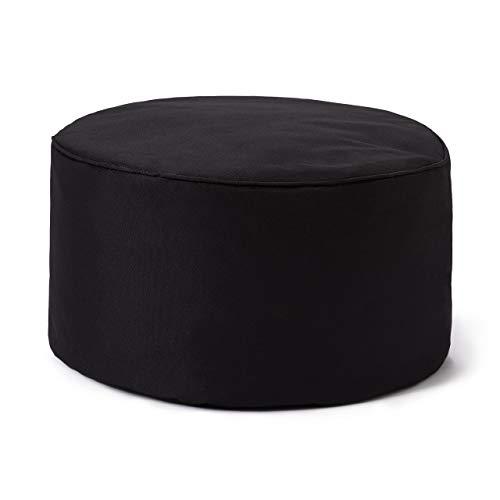 Lumaland Indoor Outdoor Sitzhocker 25 x 45 cm - Runder Sitzpouf, Sitzsack Bodenkissen, Sitzkissen, Bean Bag Pouf - Wasserabweisend - Pflegeleicht - ideal für Kinder und Erwachsene - Schwarz
