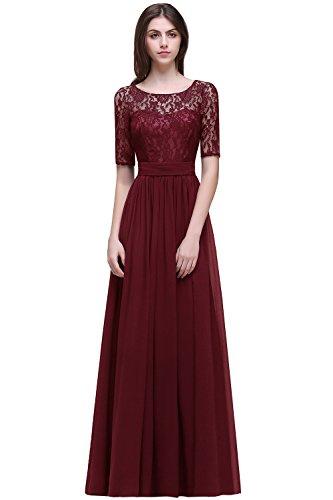 MisShow# Damen Elegant Spitzen Abendkleid Abschlusskleider Brautjungferkleid Navy Blau Gr.32-46, Weinrot, 40