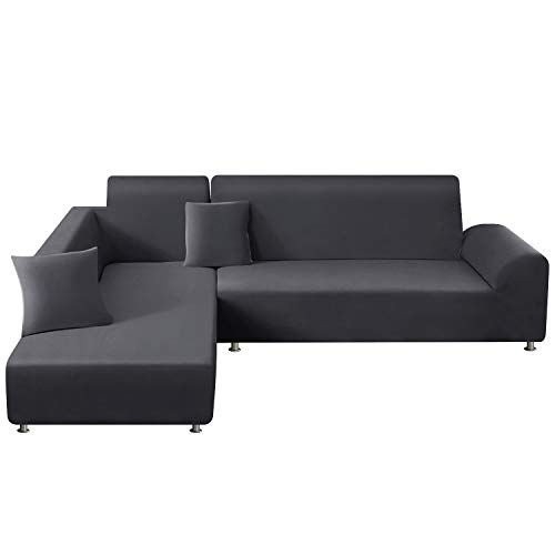 TAOCOCO Sectional Couch Covers 2pcs L-Shaped Sofa Covers Softness Furniture Slipcovers with 2pcs Pillowcases L-Type Polyester Fabric Stretch Couch Covers 3 Seater + 3 Seater (Lead Grey)