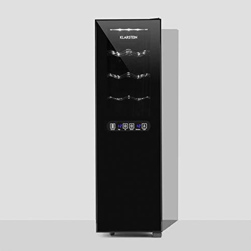 Klarstein Bellevin - frigorifero per vini e bevande ,45 L , 16 bottiglie , 2 zone , doppiamente isolato , 6 ripiani in metallo , display LCD , pannello di controllo touch , autonomo , nero