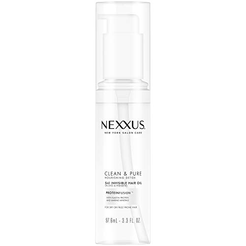 Nexxus Clean & Pure 5in1 Invisible Hair Oil, Hair Oil for Frizzy Hair, Nourishing Detox Paraben-Free, Dye-Free 3.3 oz