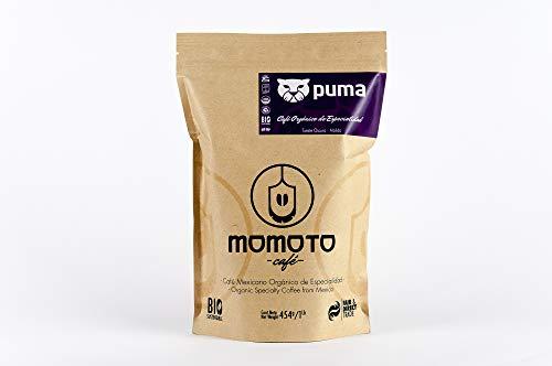 Momoto café mexicano, orgánico y de especialidad, Puma en grano, 1 lb, tueste obscuro recomendado para espresso y americano