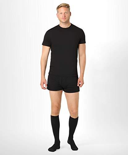 BeFit24 Gambaletti elastici a compressione graduata (15-21 mmHg, 140 Denari, Classe 1) per uomo - Calze elastiche contenitive - Gambaletto antitrombo [ Misura scarpe uomo: EU 44-46 (L) - Nero ]
