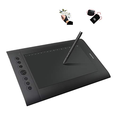 Huion H610 Pro Graphic Drawing Tablet 8192 Pen Pressure Sensitivity with Carrying Bag and Glove