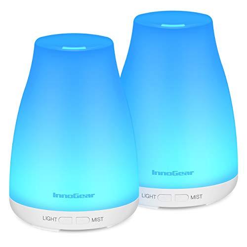 InnoGear 150ml Duftöldiffusor, 2 Stücke Aromatherapie Diffusor Ultraschall-Luftbefeuchter mit 2 Arbeit-Modus Wasserlose automatische Abschaltung für das Schlafzimmer Wohnzimmer Office (Weiß)