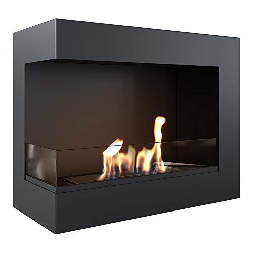 KRATKI Corner Fireplace Delta |Bio Fireplace 600 x 280 mm |Wall-Mounted Fireplace with 4 mm Glazing |Ideal for Open and Modern interiors |TÜV - Rhineland Tested |Open to The Left