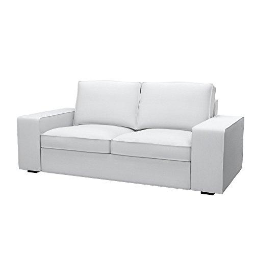 Soferia Fodera di Ricambio per Ikea KIVIK Divano a 2 posti, Tela Elegance White, Bianco