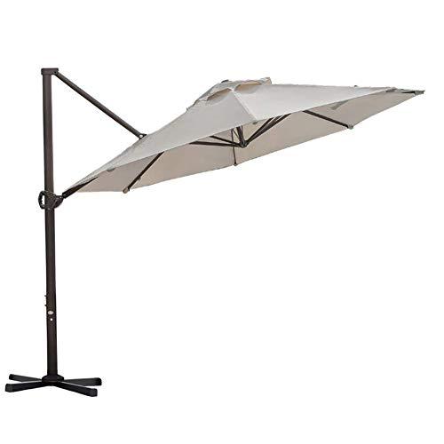 Abba Patio 11ft Patio Offset Hanging Umbrella Outdoor Cantilever Sturdy Umbrella with Crank & Cross Base & Easy Tilt, for Garden, Backyard, Pool and Deck, Khaki