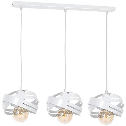 Licht-erlebnisse Cori 2C5B4A5A8E - Lampadario a sospensione in metallo, design moderno, bianco, 3-flmg, E27 230.00volts