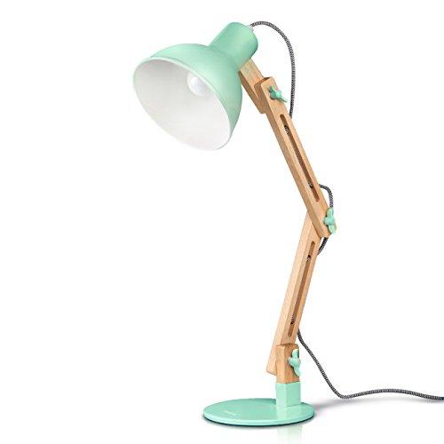 Tomons Schreibtischlampe LED Leselampe im klassichen Holz Design, Tischleuchte Verstellbare, Verstellbarem Arm, Grün Schreibtischlampe Retro, Leselampe Kinder, Nachttischlampe Holz