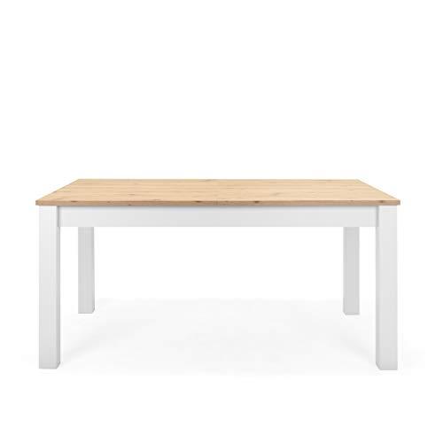 Newfurn Esstisch ausziehbar 160-215 cm inkl. Tischplatte Weiß Wildeiche Esszimmertisch Vintage Landhaus - 160-215x75x90 cm (BxHxT) - Tisch Küchentisch Speisetisch - [Eireen.Two] Esszimmer Küche
