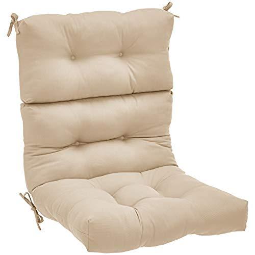 Amazon Basics Tufted Outdoor High Back Patio Chair Cushion- Khaki