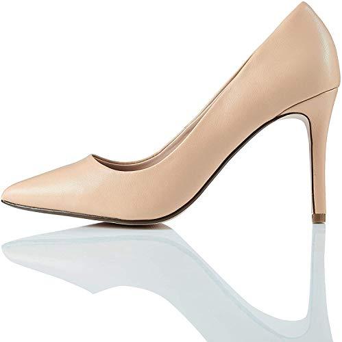 find. Point High Heel Leather Court Zapatos de Tacón, Beige, 39 EU