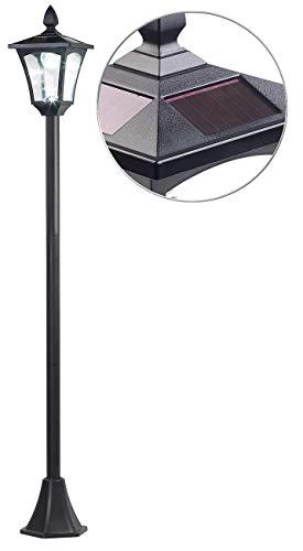 Royal Gardineer Solar Gartenleuchten: Solar-LED-Gartenlaterne, Dämmerungssensor, 40 lm, dimmbar, IP44, 1,6 m (Solar LED Gartenleuchte)