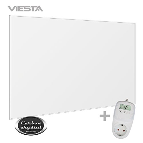 Viesta F1200 Infrarotheizung Carbon Crystal (neueste Technologie) Heizpaneel Heizkörper Heizung heating panel ultraflache Wandheizung Weiß - 1200 Watt + Viesta TH10 Thermostat