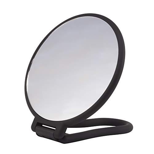 PARSA Beauty Spiegel Stellspiegel Handspiegel mit Soft-Touch Finish schwarz rund doppelseitig normal und 3-fach Vergrößerung zum Schminken und Frisieren