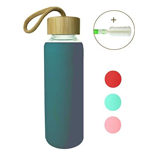 Wenburg Trinkflasche/Glasflasche mit Bambus-Deckel 0,35l / 0,5l, Silikonhülle. Glas Sportflasche/Wasserflasche. Für Unterwegs (Türkisgrün, 350 ml)