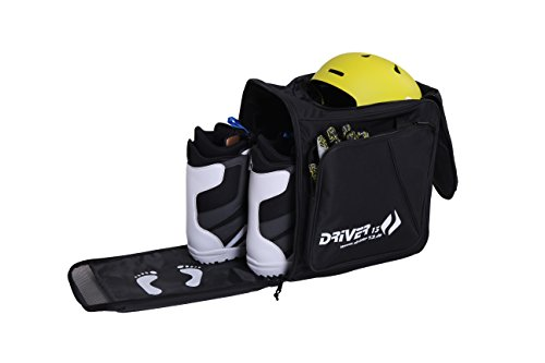 Driver13 Zaino per scarponi da sci con scomparto per casco + zaino per orologio da sci con scomparto per casco per scarponi da snowboard + inliner + borsa per scarponi nero