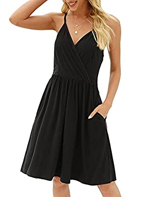Material: The Sundress is made of 100% polyester. It is very soft, breathable, comfortable and lightweight. The Swing Dresses will flow when you walk and feels soft against your skin. Unique Design: Above knee length and elastic waist shape your figu...