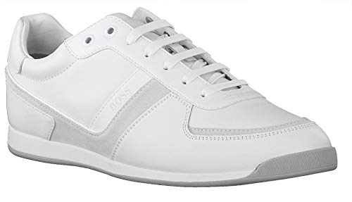 Hugo Boss Men's Maze Lowp It Comfort Sneakers Low Profile Trainers Fashion Lace-up Sporty Shoes (12, White)