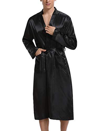 Hawiton Herren Morgenmantel Lang Satin Bademantel Kimono Robe Nachtwäsche V Ausschnitt mit Gürtel Schwarz XXL