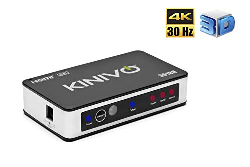 Kinivo 301BN 3-Port High Speed 4K HDMI Switch With IR Wireless Remote And AC Power Adapter - Supports 4K 30Hz For Xbox 360/One, PS4/PS3, Nintendo Switch, Blu-ray Player, Apple TV, Roku etc