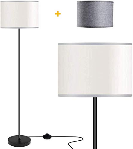Floor Lamps for Living Room with 2 Lamp Shades, LED Modern Standing...