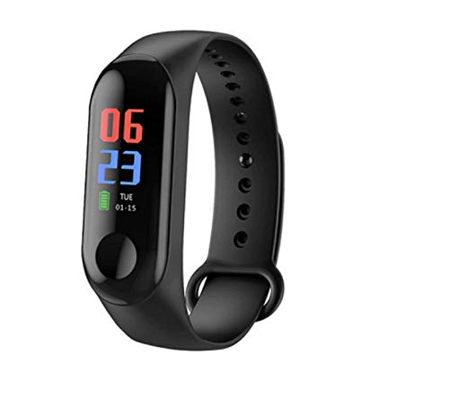 HUG PUPPY Smart Band Fitness Tracker Watch Heart Rate with Activity Tracker Waterproof Body Functions Like Steps Counter, Calorie Counter, Blood Pressure, Heart Rate Monitor LED Touchscreen (Black)