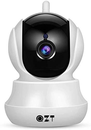 Telecamera IP, Videocamera di Sorveglianza Domestica WiFi 720P HD QZT con Audio Bidirezionale, Visione Notturna, Motion Detection, Allarme via Email