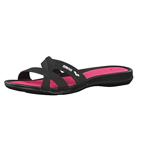 Arena Athena Woman Hook, Zapatos de Playa y Piscina para Mujer, Multicolor (Black/Fuchsia 509), 37 EU
