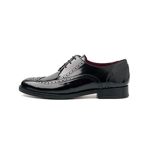 Beatnik Shoes Zapatos de Cordones Estilo Oxford Blucher Negros de Mujer en Piel Beatnik Ethel All Black, Talla : 36