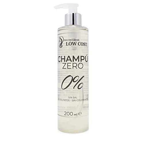 PLC PELUQUERIAS LOW COST Champú Zero 0% 200 ml Sin sulfatos ni parabenos ni sales ni siliconas, para cueros cabelludos sensibles con queratina natural anti irritación
