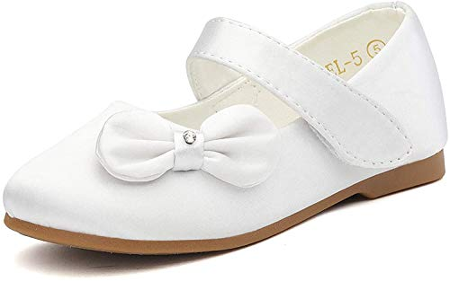 DREAM PAIRS Angel-5 Adorable Mary Jane Side Bow Buckle Strap Ballerina Flat (Toddler/Little Girl) New White Satin Size 9