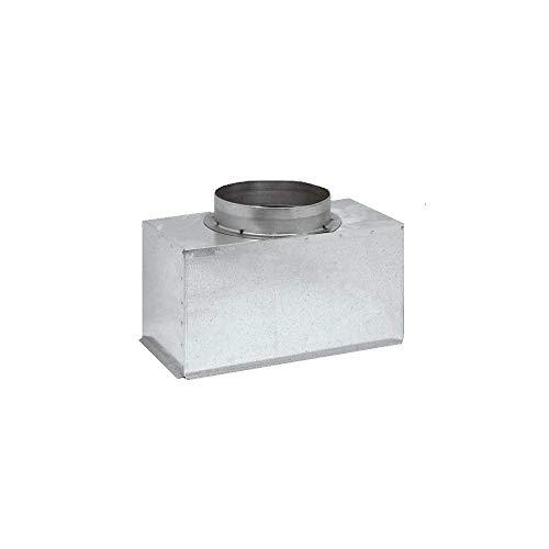 Plenum in lamiera d'acciaio zincata coibentato per bocchette e griglie lineari (sezione 300 x 160 diametro 127)