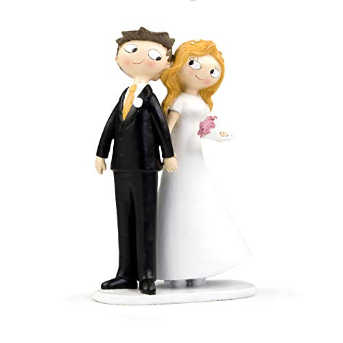 Mopec Pop & Fun - Figura para tarta de boda pareja de novios de la mano, 21,5 cm, color blanco roto