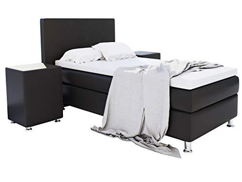 Home Collection24 GmbH Boxspringbett 90x200 cm mit Federkern-Matratze Topper in H3 Hotelbett Einzelbett aus hochwertigem Massivholz, Farbe:Schwarz