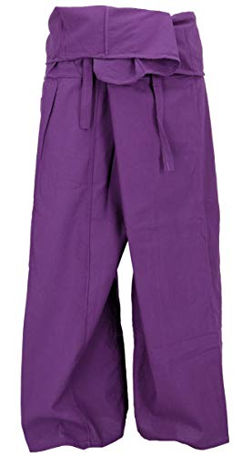 Guru-Shop, Pantaloni da Pescatore Thailandese in Cotone, Pantaloni Avvolgenti, Pantaloni da Yoga, M/L Viola, Dimensione Indumenti:One Size, Pantaloni da Pescatore Pantaloni da Yoga