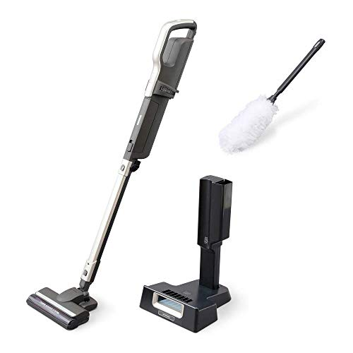 アイリスオーヤマ 極細軽量スティッククリーナー 掃除機 コードレス 静電モップ・スタンド付き ほこり感知...