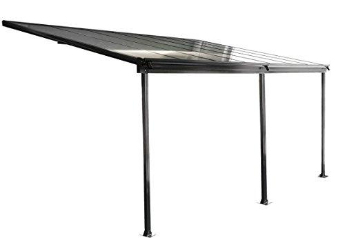 osoltus Aluminium Terrassenüberdachung Terrassendach Veranda grau/weiß 035 x 300 cm (Grau)